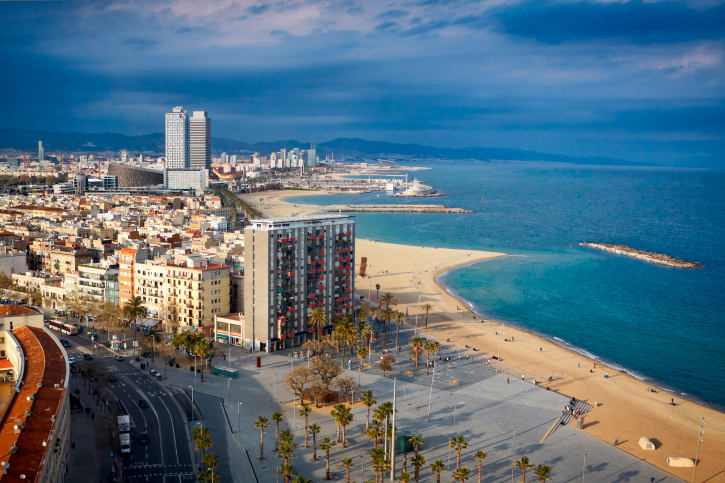 View of the beach at Barcelona, Spain