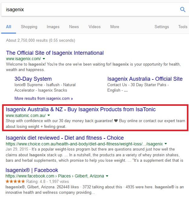 Isagenix in Google