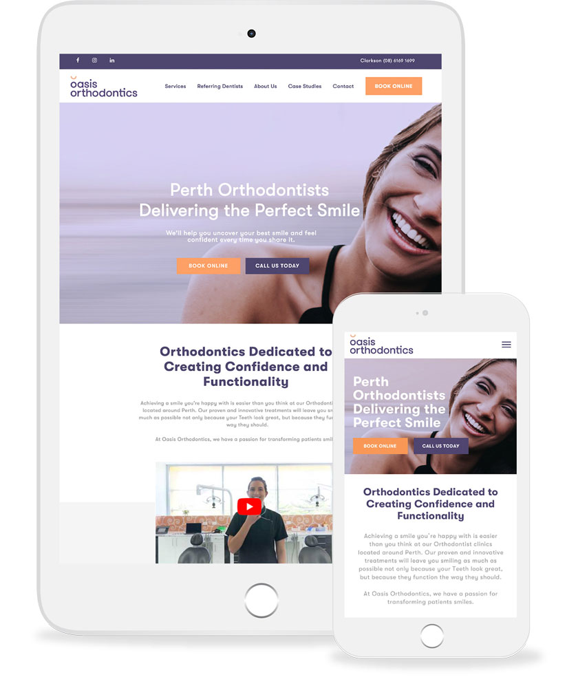 Oasis Orthodontics on mobile and tablet