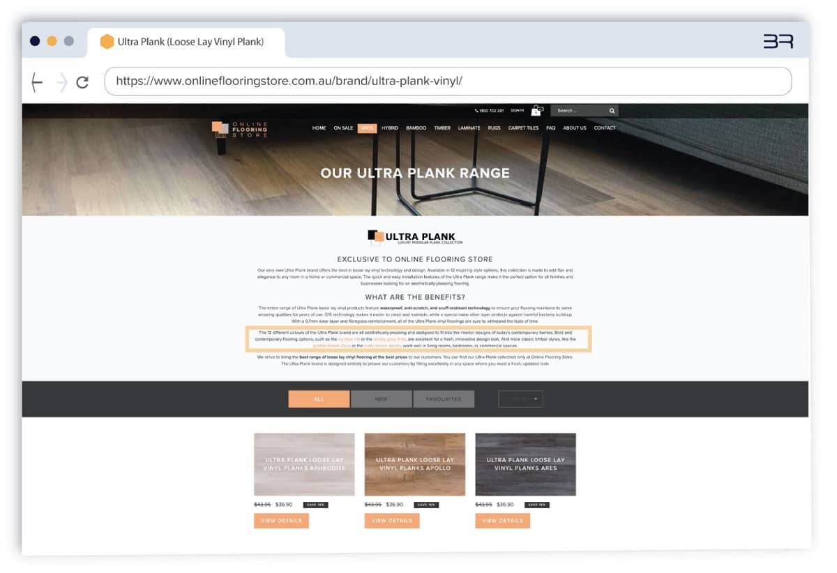 Brand categories with additional internal links