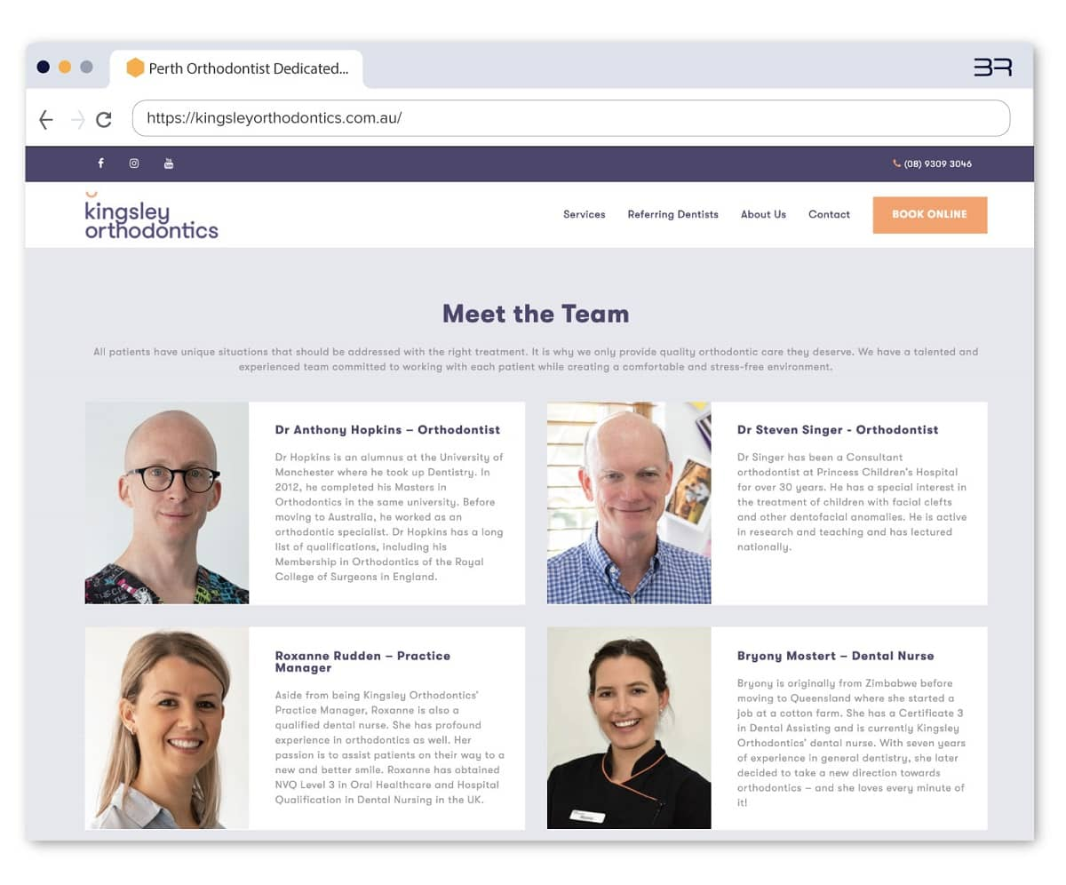 Meet the team section on homepage